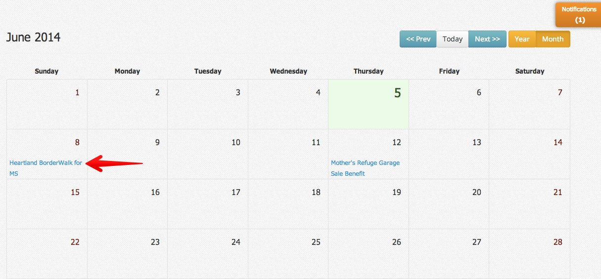 Calendar view of accepted invitation