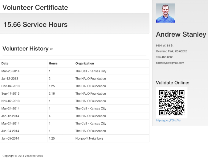 View service hour certificate - Volunteer Learning Center
